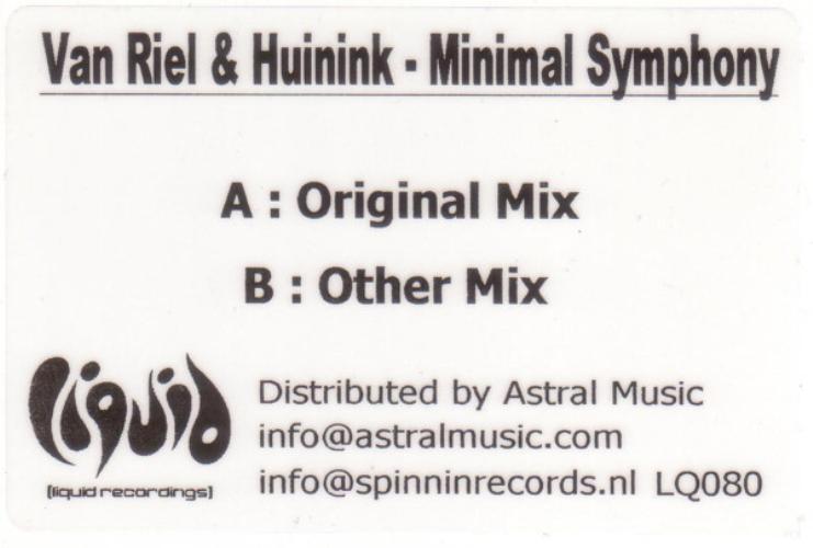 VAN RIEL & HUININK - Minimal Symphony - Maxi x 1
